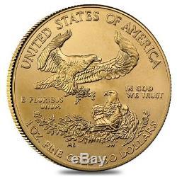 Lot De 5 1 Oz D'or American Eagle 50 $ Monnaie Bu (random Année)