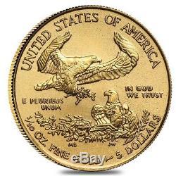 Lot De 5 2020 1/10 Oz D'or American Eagle 5 $ Coin Bu