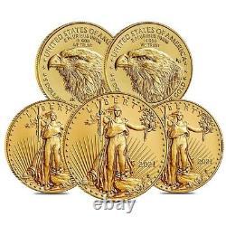 Lot De 5 2021 1/10 Oz Gold American Eagle 5 $ Pièce Bu Type 2