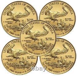 Lot De 5 2021 1/10 Oz Gold American Eagle Coin Bu En Stock