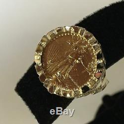 Or 22k-fine 1/10 Oz Us American Eagle Coin En 14k Or Massif Nugget Anneau