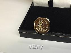 Or Jaune 14k Hommes Coin Ring Avec 22k 1/10 Oz American Eagle Coin