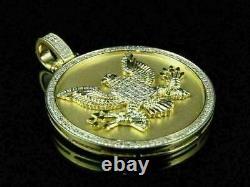 Pendentif Spécial Diamant De Noël 14k D'or Jaune Au-dessus Du Pendentif Américain De Médaillon D'aigle