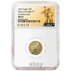 Prévente 2021 5 $ American Gold Eagle 1/10 Oz Ngc Ms70 Als Er Label