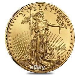 Rouleau De 50 2020 1/10 Oz D'or American Eagle $ 5 Coin Bu (lot, Tube De 50)