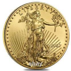 Rouleau De 50 2021 1/10 Oz Gold American Eagle $5 Coin Bu (lot, Tube De 50)