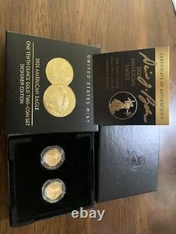 Ryder Signed Coa 2021 American Eagle One-tenth Oz Gold 2 Coin Designer Edition