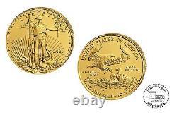 USA 10 $ Aigle Américain 2021 Or Anlagemünze 1/4 Oz Or St