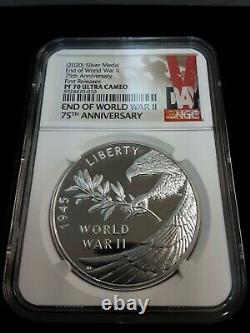 V75 Fin De La Seconde Guerre Mondiale 75e Anniversaire Or & Silver Eagle & Medal(s) Ensemble De 4 Pf 70
