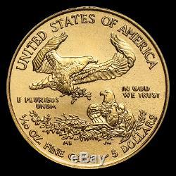 (lot De 10 D'une Offre Publique) Ch / Gem Bu 2020 1/10 Oz. 5 $ American Eagle Gold Coin
